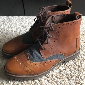 NEW men's Toms full grain leather brogue boots 7.5
